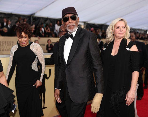 Morgan Freeman durante la alfombra roja de los premios de las