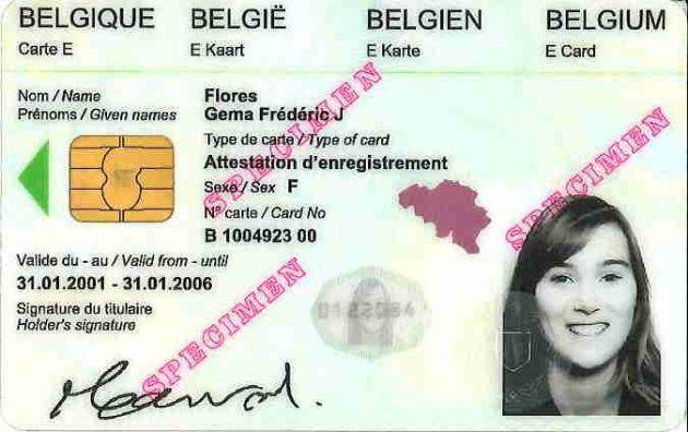 Ejemplo de tarjeta de identidad expedida en