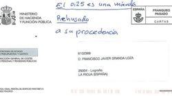 La carta devuelta a Hacienda por la
