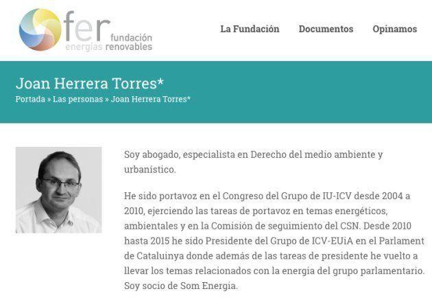 Biografía de Joan Herrera en la web de Fundación