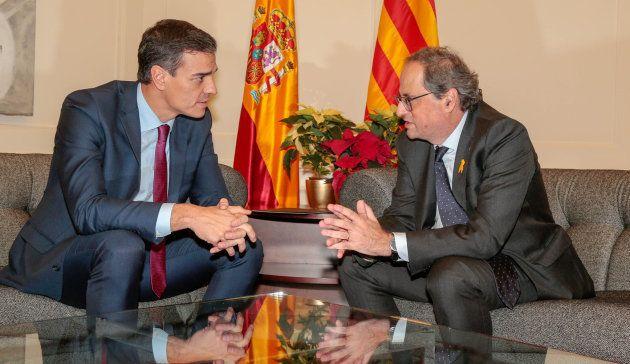 Pedro Sánchez y Quim Torra, en su reunión de este jueves en el Palacio de