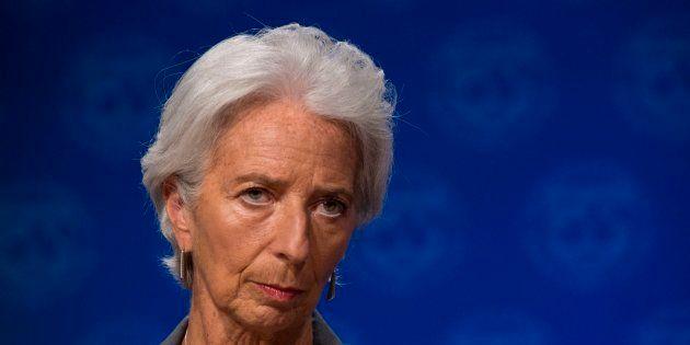 La directora del Fondo Monetario Internacional, Christine Lagarde, en una rueda de prensa en