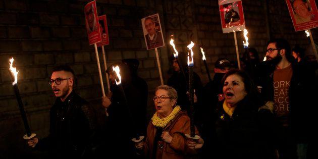 Una manifestación en Barcelona para pedir la liberación de los políticos catalanes