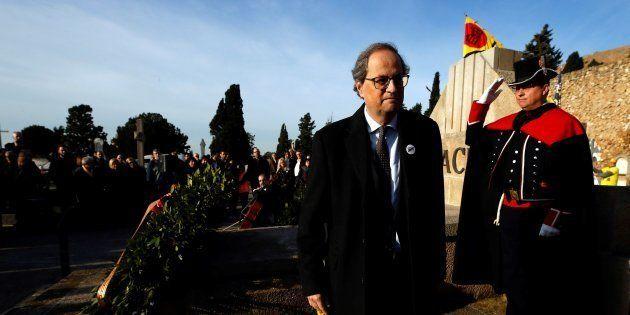 El presidente de la Generalitat, Quim Torra, en la tradicional ofrenda floral a la tumba de Francesc...