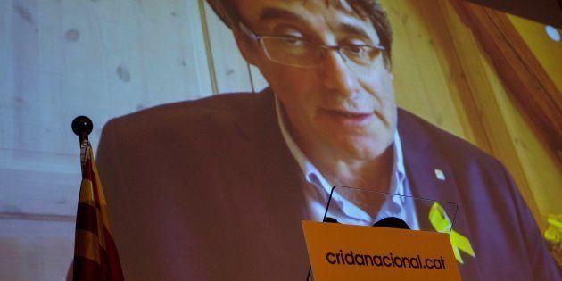 El expresidente catalán Carles Puigdemont, durante su videoconferencia de esta