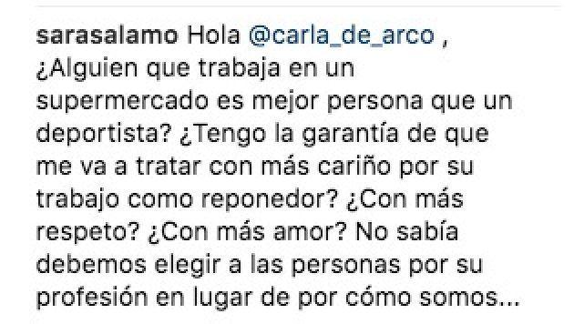 La respuesta de la actriz Sara Sálamo a una fan que le llamó