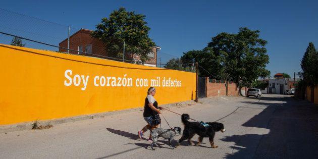Uno de los muros pintados por Boa Mistura en la Cañada Real