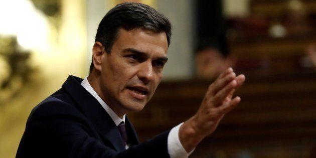 El presidente del Gobierno, Pedro Sánchez, en su comparecencia en el