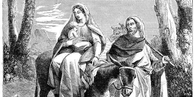 La huída de la Sagrada Familia a Egipto, en un grabado de