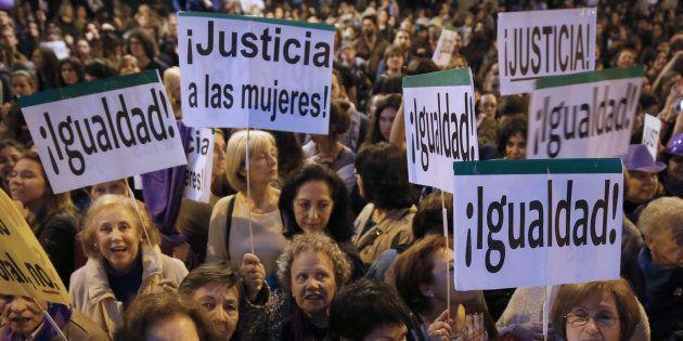 Manifestación en Madrid con motivo del Día Internacional de la Mujer en 2017.