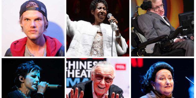 Famosos muertos en 2018: Dolores O'Riordan, Stephen Hawking, Aretha Franklin, Stan