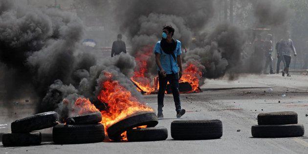 Un manifestante durante las protestas en