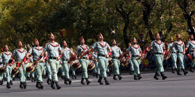 Un grupo de legionarios, en el desfile del 12 de octubre en