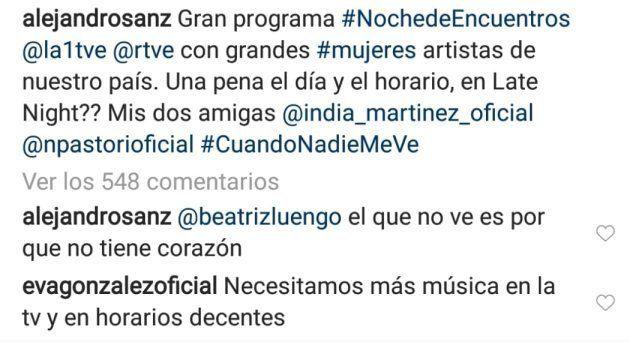 Comentario de Eva González a una publicación de Alejandro Sanz sobre