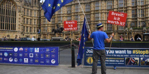 Un manifestante en contra del Brexit se manifiesta a las afueras del Parlamento en