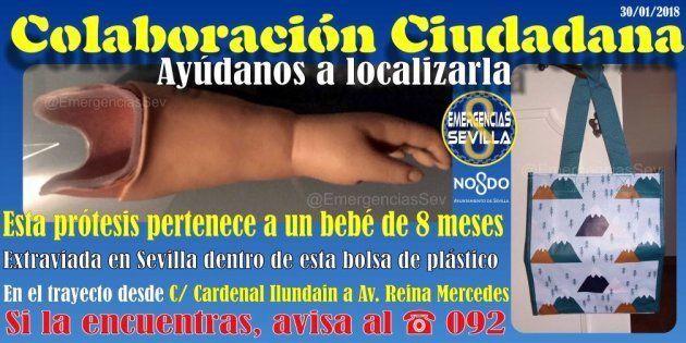 Pierde la prótesis del brazo de su bebé en Sevilla y lo que sucede en Twitter te devolverá la fe en el...