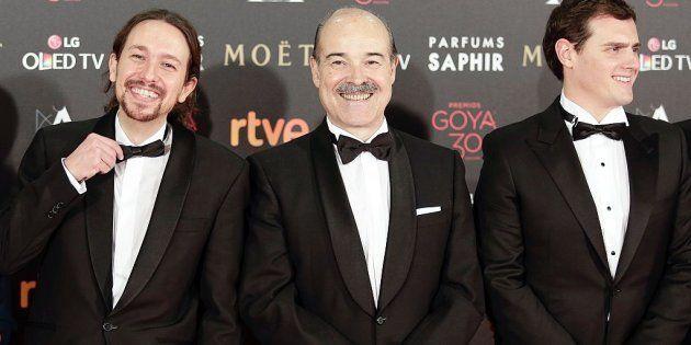 Pablo Iglesias, Antonio Resines y Albert Rivera en la Gala de los Goya