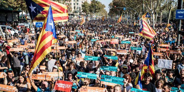 Manifestantes independentistas en Barcelona, en octubre de