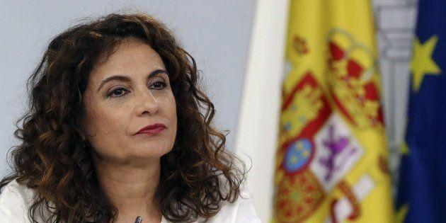 María Jesús Montero, ministra de Hacienda, en la rueda de prensa después del Consejo de