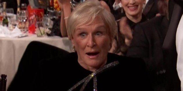 La cara de Glenn Close al conocer que había ganado el Globo de