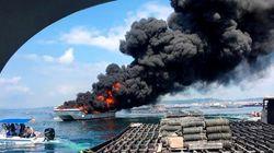 Arde un barco turístico con 50 personas a bordo en