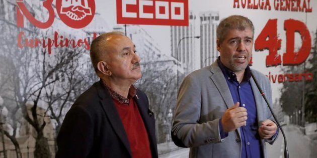 Los secretarios generales de CCOO y UGT, Unai Sordo y Pepe Álvarez, atienden a los medios en un