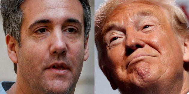 Michael Cohen, el abogado, y Donald Trump, el presidente de EEUU, en sendas imágenes de