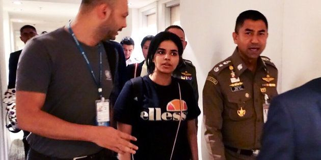 Imagen de la joven saudí en el hotel en el que permanece
