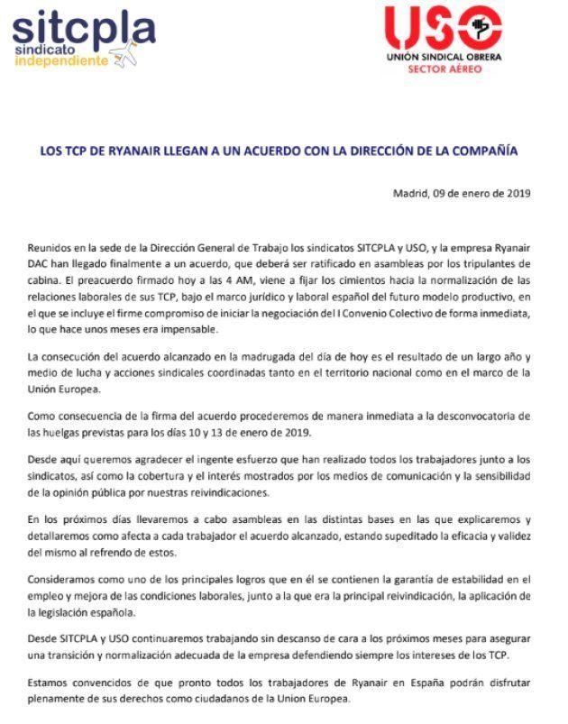 Comunicado de los sindicatos de tripulantes de cabina Sitcpla y USO sobre el acuerdo con