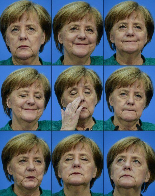 La cara de Merkel en distintos momentos durante la rueda de prensa que ha ofrecido este