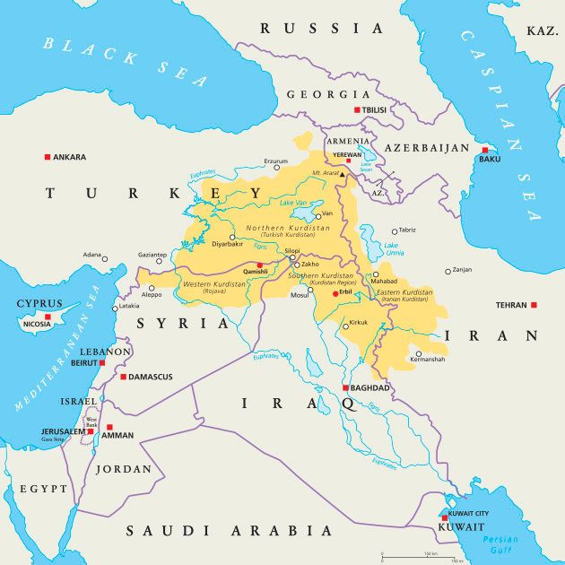 Kurdistan region political map. Kurdish inhabited areas in the middle east. Northern, Western, Eastern...