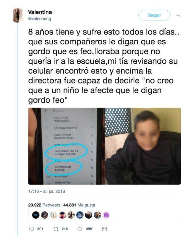 La brutalidad del bullying, resumida en un tuit que ya tiene más de 20.000