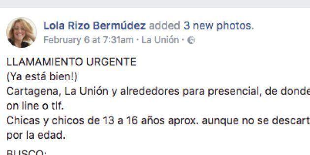 Una madre de Cartagena busca por Facebook amigos para su hija con
