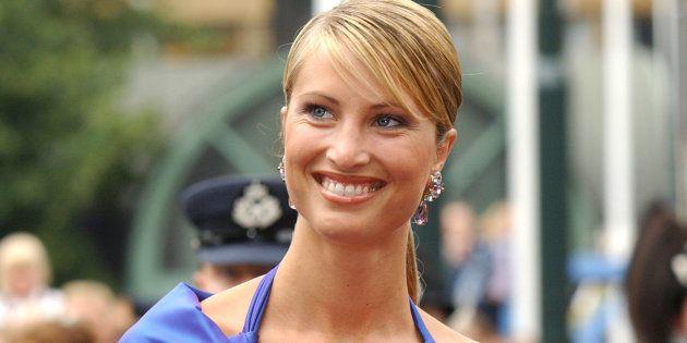 Eva Sannum, en la boda de Haakon de Noruega y Mette Marit en agosto de