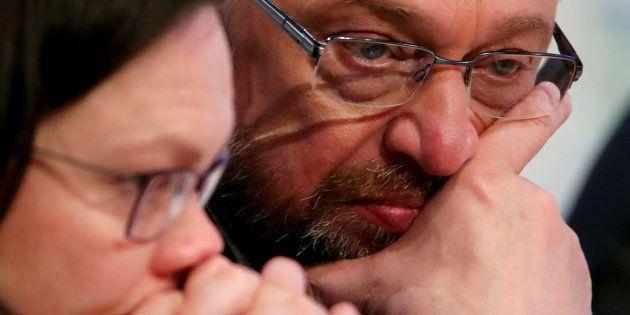 Imagen de archivo de los líderes socialdemócratas alemanes Martin Schulz y Andrea