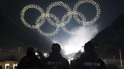 Los drones sincronizados por GPS ponen el broche final en los JJOO de Invierno de