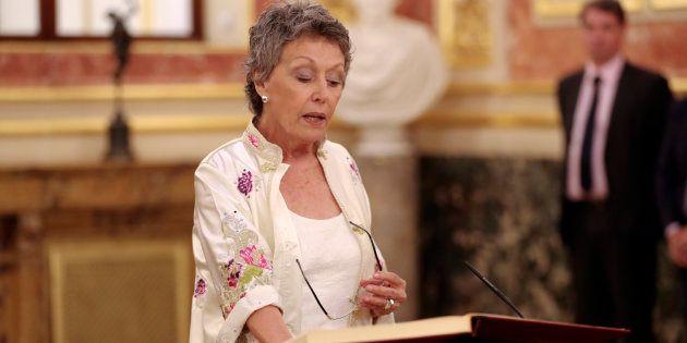 Rosa María Mateo durante la toma de