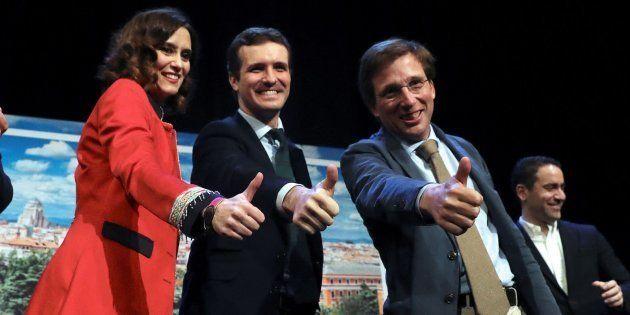 Pablo Casado y los candidatos del PP para Madrid, Isabel Díaz Ayuso y José Luis