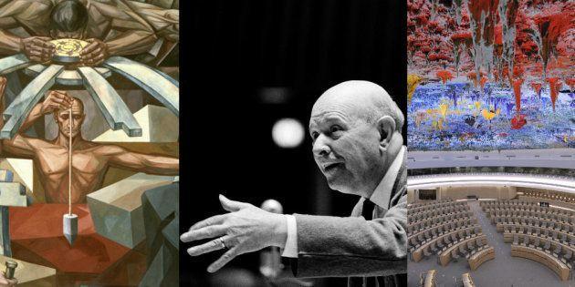 Izquierda: Sección central del mural de José Vela Zanetti en la sede de Naciones Unidas, en Nueva York....
