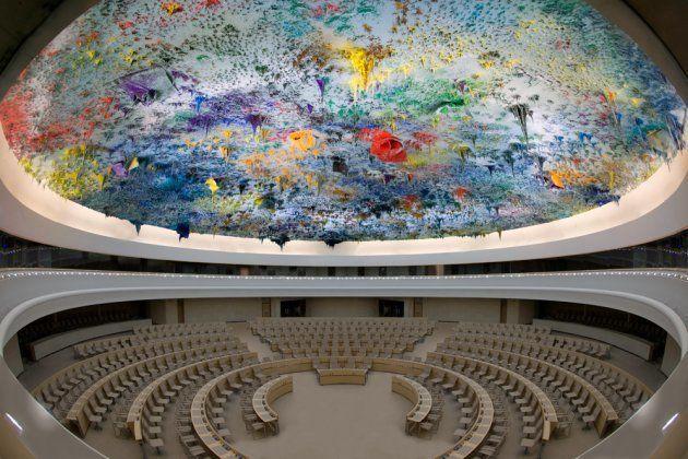 Cúpula de la Sala de Derechos Humanos en la Sede de la ONU en Ginebra,