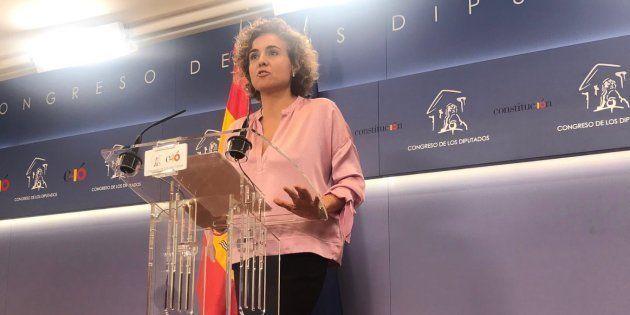 La portavoz del Grupo Popular en el Congreso, Dolors Montserrat, durante su primera rueda de prensa en...