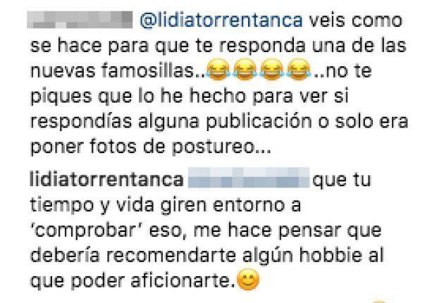 La respuesta de Lidia Torrent a la doble provocación de un seguidor en