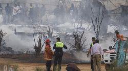 El incendio en un asentamiento de inmigrantes en Lepe destruye 80