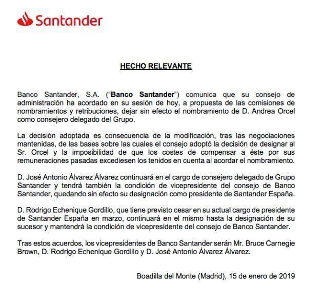 Comunicado de Santander a la