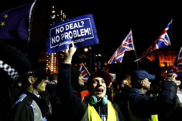 Pro-Brexit protesters demonstrate outside the Houses of Parliament, ahead of a vote on Prime Minister...