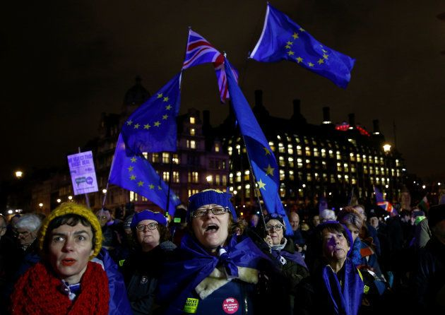Anti-Brexit protesters demonstrate outside the Houses of Parliament, ahead of a vote on Prime Minister...