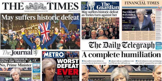 Las portadas de la derrota de May en el Parlamento de
