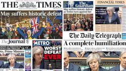 Las portadas de la derrota histórica de May en el