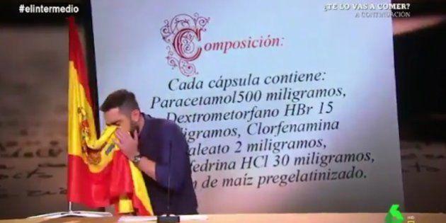 Dani Mateo, en el polémico 'sketch' en el que se sonaba con la bandera de España en 'El