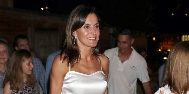 La reina Letizia junto a sus hijas en el concierto de Ara Malikian en Palma de Mallorca el 1 de agosto...